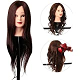 80% 22'' Human Hair Salon Training practice Head Hairdressing Mannequin + Stand