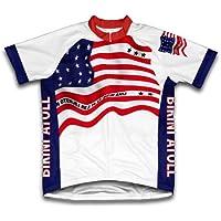 Bikini Atoll bandiera manica corta ciclismo per donne, Donna uomo, White, XXXL