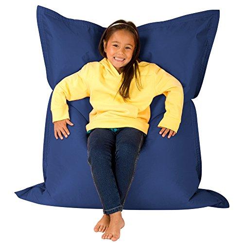 Hi-BagZ Kids 4-Way Lounger Outdoor Floor Cushion-100% Water Resistant Childrens Bean Bags, Polyurethane, Navy, 125 x 100 x 20 cm