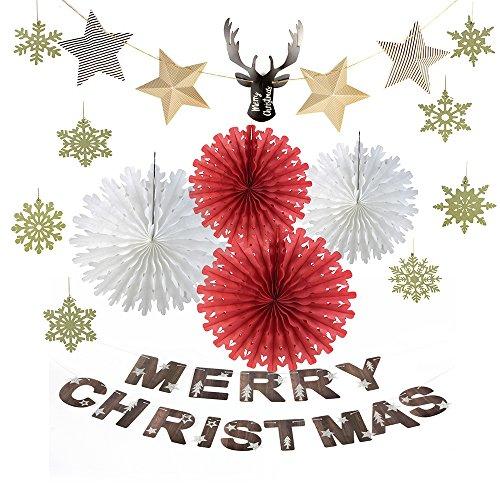 Merry Christmas Ornaments papier Décoration kit, tête de cerf étoiles Guirlande Flocon de neige Flocon de neige Rouge les fans de papier blanc Doré Sunbeauty