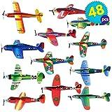 48 Avions en Papier / Polystyrène | Planeurs en 12 Motifs Différents | Parfait pour les Pochettes-Surprise, Cadeaux aux Invités, Récompense à l'École, Jouets Avions Styrol pour Pinata, Halloween Fete