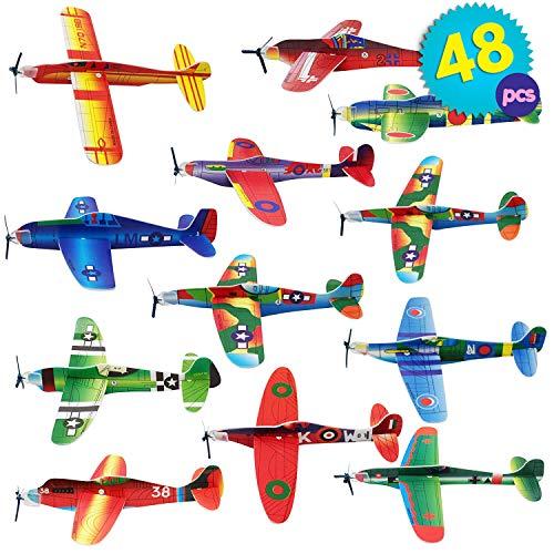 THE TWIDDLERS 48 Aviones planeadores de Papel - Niños Aeroplanos voladores en...