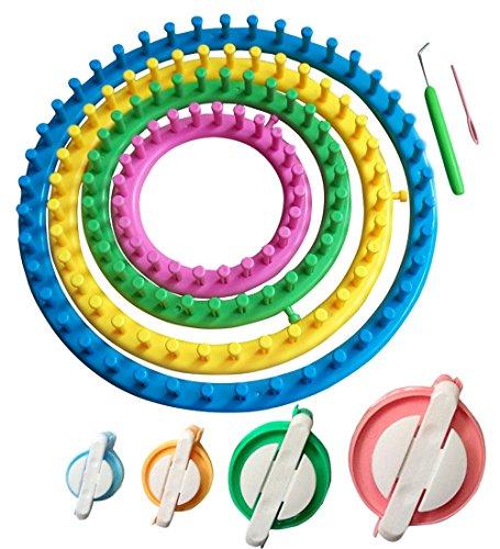 Tmade, Runde Strickringe, Ring, Board Set, Handarbeits-Kit, Socken, Schal, Mützen Hakenmacher-Tool mit 4Bommelmachern
