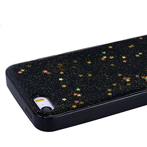 Cover per iPhone 5 / iPhone 5S / iPhone SE, VemMore Custodia in Morbido Nero Silicone TPU Case con Stella Scintillante Glitter Pattern Designo Backcase Caso di Ultra Sottile Bling Brillante Paraurti L Oro