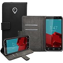 Membrane - Negro Cartera Funda Carcasa para Vodafone Smart Prime 6 - Wallet Case Cover + 2 protectores de pantalla