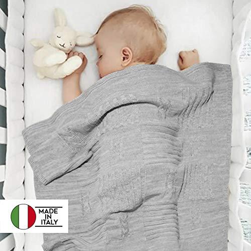 Twosteps copertina neonato bambino lana misto merino invernale calda morbida avvolgente elegante di altissima qualità culla ospedale ovetto navicella carrozzina passeggino 85x85 universale