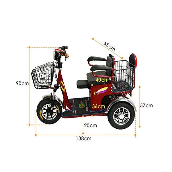 Sunzy Electric tricycle, heavy elderly disabled travel motorized scooter speed three adjustable 48V/20AH lithium battery bearing weight 450LB / 25KM / h Sunzy *This is an outdoor shopping and leisure three-wheeled scooter suitable for the elderly disabled. It is a versatile mobile scooter that is durable, safe and comfortable, balanced, brake sensitive and high-end configuration. * Load capacity up to 200KG, dual drive differential motor power 48v600W power, low noise, energy saving and environmental protection, high power detachable charging, 48V/20AH lithium battery, battery charging time is about 8-10 hours, high, medium and low three speed , the speed can reach 25km / hour, battery life is about 45KM, reversing function * Explosion-proof solid tires, thickened, enlarged, wear-resistant 3.0-8 non-slip tires, seats can be freely switched for two sitting, left and right handrails can be turned up and down, easy to get on and off, 2
