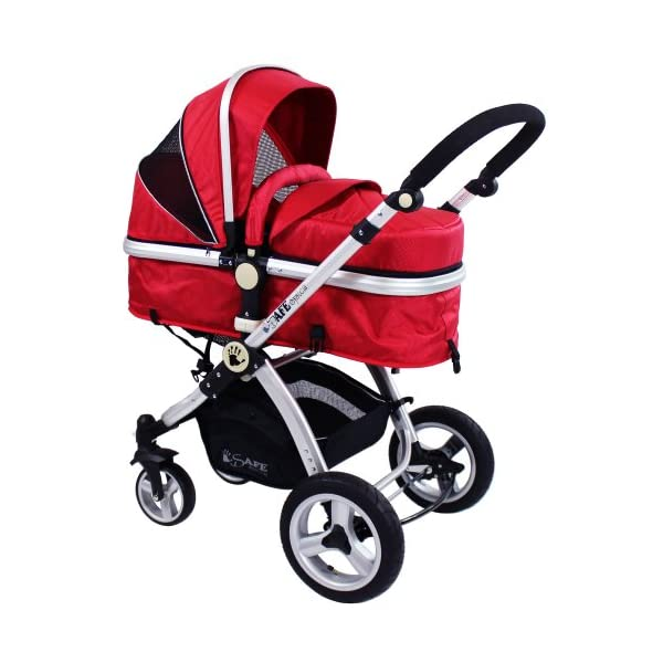 iSafe 2 in 1 Baby Pram System Complete (Red) iSafe 2 in 1 Stroller / Pram Extremely Easy Conversion To A Full Size Carrycot For Unrivalled Comfort Complete With Boot Cover, Luxury Liner, 5 Point Harness, Raincover, Shopping Basket With Closed Ziped Top High Quality Rubber Inflatable Wheels With The Full All around Soft Suspension For That Perfect Unrivalled Ride 4