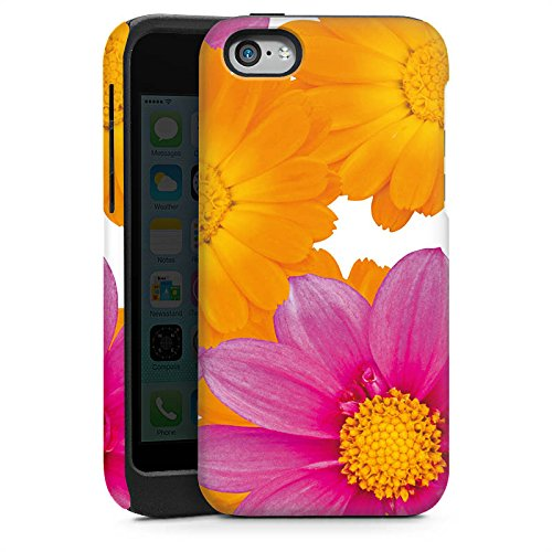Apple iPhone 4 Housse Étui Silicone Coque Protection Fleurs Fleurs Rose vif Cas Tough brillant