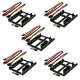 Rhombutech® SET 5x Einbaurahmen für 2x 2,5 Zoll HDD/SSD auf 3,5 Zoll - Metall - sehr stabil - optimiert für SSD - Halterung Schienen inkl. Befestigungsschrauben (SET 5x SSD DUAL Einbaurahmen II)
