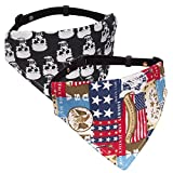 Pawaboo hundehalsband, [2Stück] Einstellbar Hunde Halsband Weihnachten hunde tuch halstuch lätzchen dreiecks für Katze, Hunde, Welpeln,, Schädel & Fahne US, S, Für 21,6cm-35,6cm
