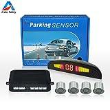 Auto Safety Einparkhilfe Parksensor Rückfahrhilfe Auto Parken Sensor System Mit Farb-Display 4 Sensoren Silber