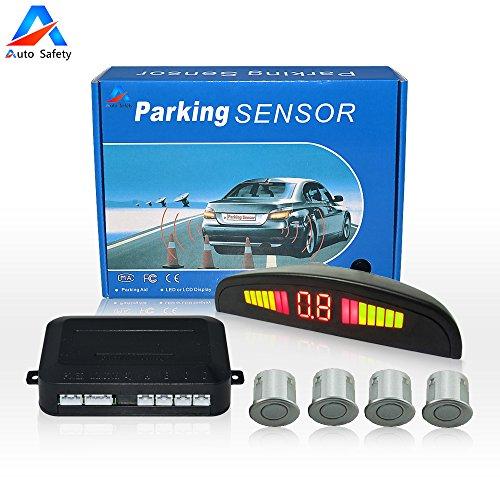 Auto Safety Sensor Aparcamiento Copia De Seguridad Radar Sistema Indicador de LUZ LED Sonido De alerta Con 4 Sensores (Plata)
