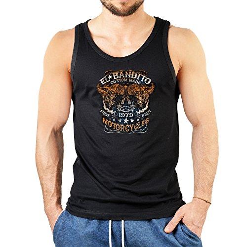 (Trägershirt Tanktop Unterhemd für Herren El Bandito Biker Biken Männershirt Muskelshirt Halloween USA Motiv USA T-Shirt Farbe: schwarz Gr: XXL)