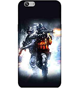 For vivo V5 sniper, army man, man with gun, fire Designer Printed High Quality Smooth Matte Protective Mobile Case Back Pouch Cover by Paresha