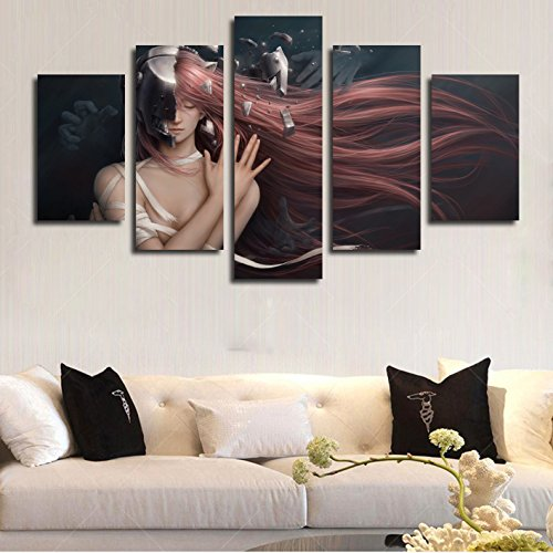 La Vie 5 Teilig Wandbild Gemälde Anime Lange Haare Frau Moderne Kunstdruck Hochwertiger Leinwand Bilder Poster Drucken für Zuhause Wohnzimmer Schlafzimmer Küche Hotel Büro Geschenk