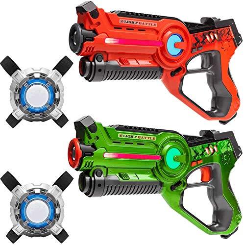 Light Battle Infrarouge Pistolets. Laser Game Pistolets: 1x Vert, 1x Orange + 2 Laser Game Plastrons   LBAPV22212
