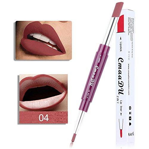 Gaddrt Cmaa Du Doppelseitiger Dauerhafter Lipliner-Wasserdichter Lipliner-Stift 6 Farbe Lippenkonturenstift Lippenstift (D)