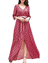 Vestido Largo Floral ,BBestseller Mujer Sexy Vestido de Fiesta Manga Larga Otoño e Invierno Elegante