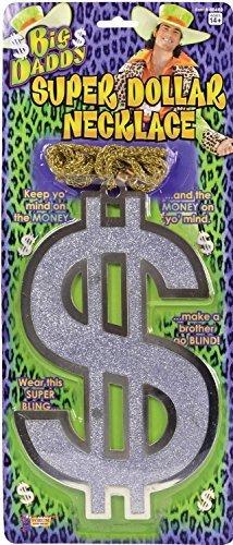 Herren Damen Silber Dollar Zeichen Halskette groß Daddy Pimp 1960s Jahre 60s Jahre 1970s Jahre 70s Jahre Karneval Herrenabend Do Nacht Kostüm Kleid Outfit (1970's Pimp Kostüm)