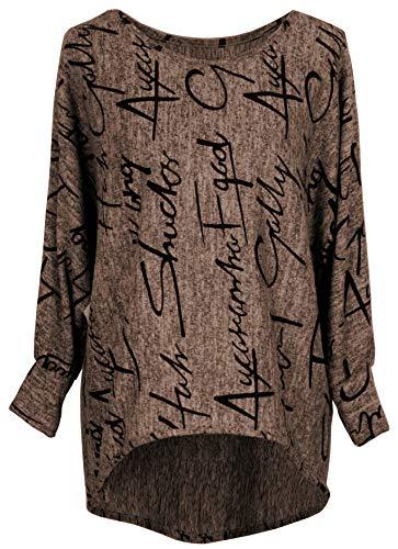 Emma & Giovanni - Pullover/Sweatshirt Oversize- Damen (L/XL, Braun)