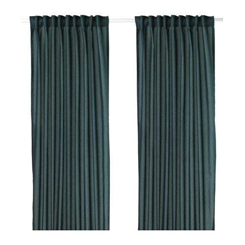 IKEA VIVAN Gardinenpaar in grünblau; (145x300cm)