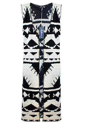 Black / White Womens Mono Aztec Stitch Blanket Sleeveless Cardigan