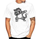 Camiseta Hombre,Longra  Camiseta de Cráneo Hombre Militares Camisetas Deporte Ropa Deportiva Camisa de Manga Corta de Camuflaje Slim Fit Casual Para Hombres Tops Blusa (Blanco3, 4XL(Gato1))