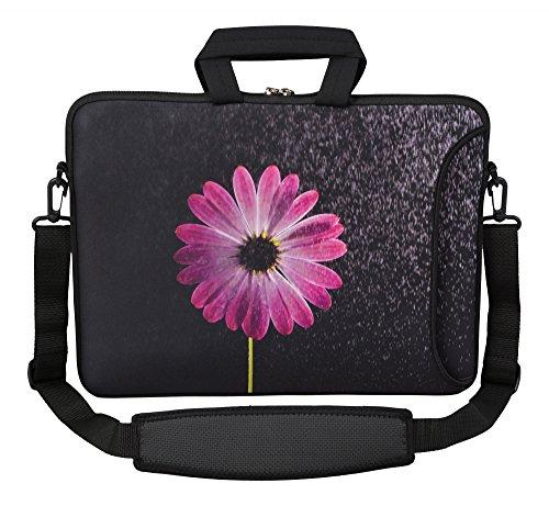MySleeveDesign Laptoptasche Notebooktasche Umhängetasche Größe 15,6 Zoll und 17,3 Zoll - mit VERSCH. DESIGNS - Flower Purple [15]