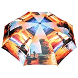 FabSeasons Polyester Printed 3 Fold Umbrella for All Seasons (Orange)