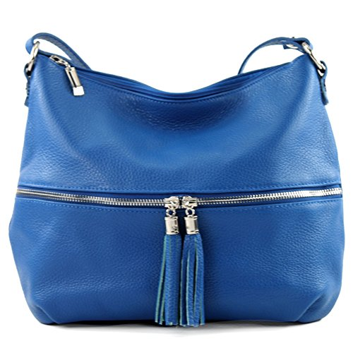 modamoda de - ital. Ledertasche Damentasche Umhängetasche Tasche Schultertasche Leder T159 Blau