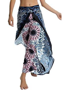 [Sponsorizzato]SEASUM pantaloni alla turca con cavallo a goccia yoga donna larghi bloomers esotico stampa fiori