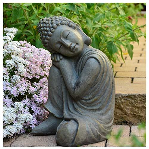 Garten Buddha in klasse Messingoptik aus Stein - 2