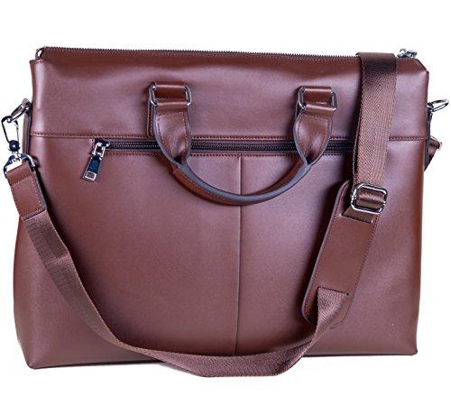 Laptoptasche aus Leder für Herren oder Damen - passend für 13 14 15 Zoll Laptops MacBooks - 2 Farben: Braun (Leder Damen Italienischen Laptop-tasche)