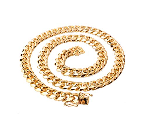 KnBoB Herren Kette Halskette Gold Zügel Kette Gold Kette Halskette Herren Halskette Länge 46CM