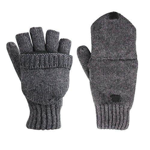 Unicoco Unisex Graue Winter Fingerlose Fäustlinge Fingerhandschuhe Fingerlos Halb Handschuhe Strick Handschuhe mit Flip Top,Wollmischung Cabrio Isoliert Fingerless mit Fäustlinge Abdeckung