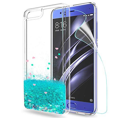 LeYi Hülle Xiaomi Mi 6 Glitzer Handyhülle mit HD Folie Schutzfolie,Cover TPU Bumper Silikon Flüssigkeit Treibsand Clear Schutzhülle für Case Xiaomi Mi 6 Handy Hüllen ZX Turquoise