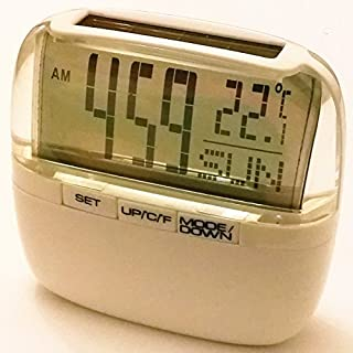 Solar Power Digital Clock with Room Temperature Thermometer Day Glass White