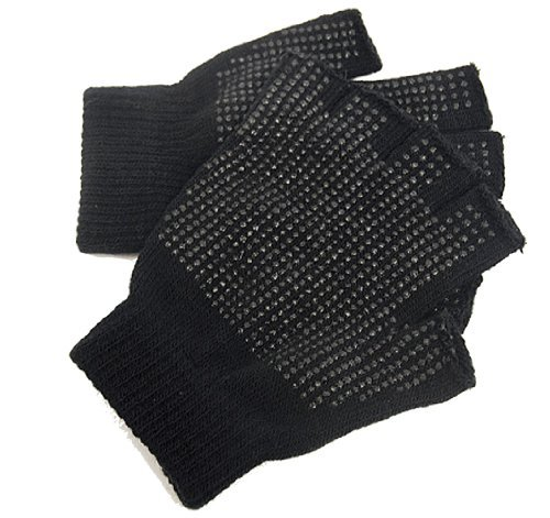 2 x Pairs Erwachsene schwarz Fingerlose Gripper Handschuhe - One Size, Männer oder Frauen (Handschuhe Fingerlose Stil)