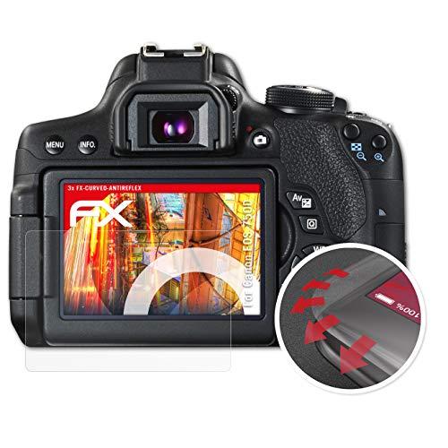 atFoliX Schutzfolie passend für Canon EOS 750D / EOS Rebel T6i Folie, entspiegelnde und Flexible FX Displayschutzfolie (3X)