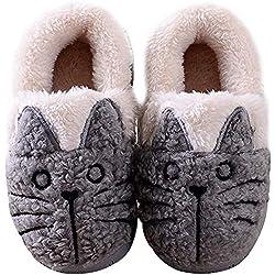 Zapatillas de Esta por casa Animales/Gatos Invierno interio Suave para Familia niños/niñas/Mujer/Hombre Gris 20/21 EU