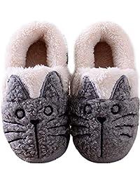 Zapatillas de Esta por casa Animales/Gatos Invierno interio Suave para Familia Niños/Niñas/Mujer/Hombre