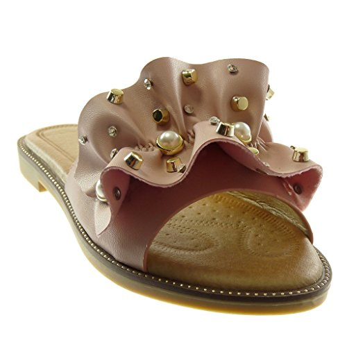 Angkorly Chaussure Mode Sandale Mule Slip-On Femme à Volants Bijoux Perle Talon Bloc 1.5 CM Rose