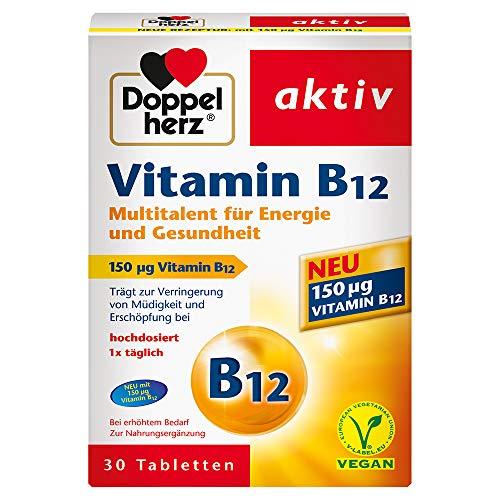 Doppelherz Vitamin B12 Tabletten - Nahrungsergänzungsmittel bei erhöhtem Bedarf - Vitamin B12 als Beitrag für den normalen Energiestoffwechsel - 1 x 30 Tabletten