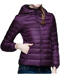 Yeesea Mujer Chaquetas de Pluma Ultraligera con Capucha Otoño Invierno Abrigos Parka Jacket