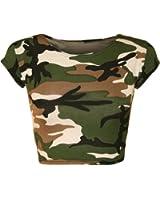 New Womens Army Camouflage Green Print Cap Sleeve Vest Ladies Crop Top 8-14