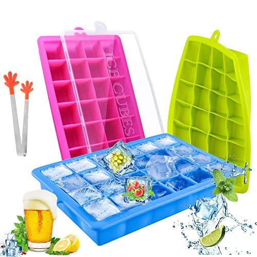 TedGem Silikon Eiswürfelform, 3 Stück Eiswürfel Silikonformen, Eiswürfelbereiter Ice Tray Ice Cube 24 Fach Eiswürfel Box Eiswürfelschale LFGB Zertifiziert -