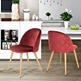 Coavas Dining Chairs Soft Velvet Cushion Seat and Back with Wooden Style Sturdy Metal Legs Kitchen Chairs for Dining and Living Room Chairs Set of 2, Bordeaux