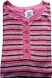Damen Frottee Schlafanzug mit Knopfleiste, Ringel Oberteil, Uni Hose, Rosa, 61528, Gr. M 40/42