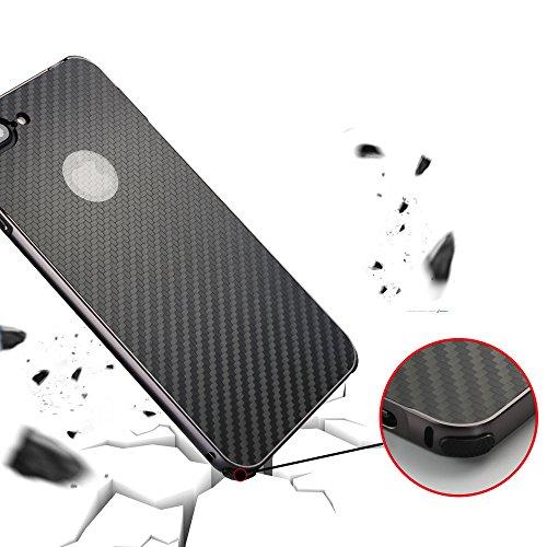 UKDANDANWEI Apple iPhone 8 Plus Hülle,Ultra Dünn Carbon-Faser Metall Zurück Case Cover mit Hard Bumper Schutz[Kratzfeste Stoßdämpfende] Überzug Aluminium Handy Tasche Schale für Apple iPhone 8 Plus -  Schwarz